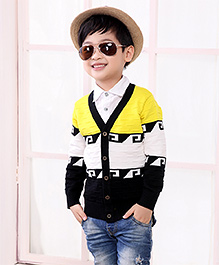 Pre Order - Superfie Colour Block Cardigan - Yellow & Black