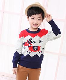 Pre Order - Reindeer Print Sweater - Multicolour