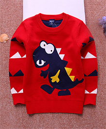 Pre Order - Superfie Dinosaur Print Sweater - Red