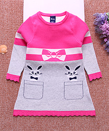 Pre Order - Superfie Woolen Dress - Pink & Grey