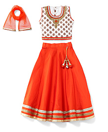 Babyhug Sleeveless Choli And Lehenga With Dupatta Studded Detailing - Orange White