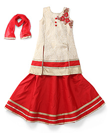 Babyhug Sleeveless Kurti And Lehenga With Dupatta Studded Detailing - Red Cream
