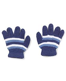 Babyhug Stripes Design Gloves - Royal Blue