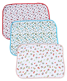 Ohms Baby Towel With Ship & Multi Print Pack Of 3 - Red Peach Blue