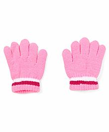 Babyhug Gloves Solid Color And Stripes Print - Pink