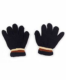 Babyhug Gloves Solid Color And Stripes Print - Navy