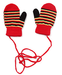 Babyhug Mittens With Strings Stripes Design - Red