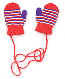 Babyhug Mittens With Strings Stripes Design - Pink & Purple