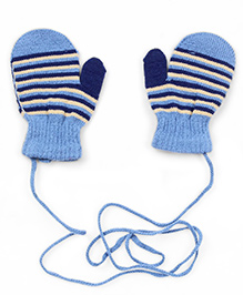 Babyhug Mittens With Strings Stripes Design - Blue