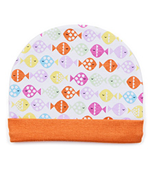 Ben Benny Bonnet Cap Fish Printed - White & Orange