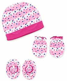 Ben Benny Cap Booties And Mittens Set Allover Heart Print - Dark Pink & White