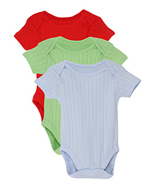 FS Mini Klub Short Sleeves Solid Color Onesies Pack of 3 - Red Green Blue