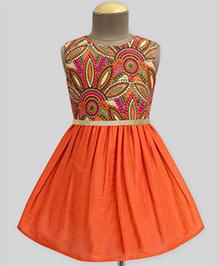 A.T.U.N Earthy Water Lily Fit & Flare Dress - Multicolour & Orange