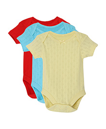 FS Mini Klub Short Sleeves Solid Color Onesies Pack of 3 - Red Blue Yellow