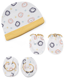 Ben Benny Cap Booties And Mittens Set Lion Face Print - White & Yellow