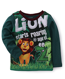 E-Todzz Full Sleeves T-Shirt Lion Print - Green