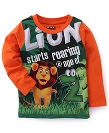 E-Todzz Full Sleeves T-Shirt Lion Print - Orange
