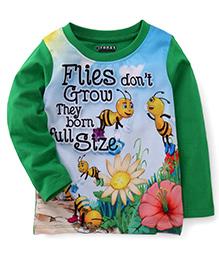 E-Todzz Full Sleeves T-Shirt Flies And Flower Print - Green