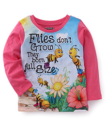 E-Todzz Full Sleeves T-Shirt Flies And Flower Print - Pink