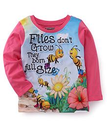 E-Todzz Full Sleeves T-Shirt Flies And Flower Print - Pink