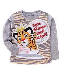 E-Todzz Full Sleeves Tiger Print T-Shirt - Grey