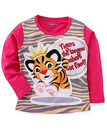 E-Todzz Full Sleeves Tiger Print T-Shirt - Fuchsia
