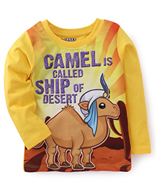 E-Todzz Full Sleeves T-Shirt Camel Print - Yellow