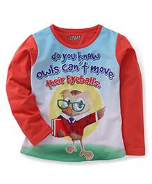 E-Todzz Full Sleeves T-Shirt Owl Print - Red