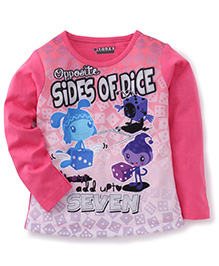 E-Todzz Full Sleeves T-Shirt Sides of dice Print - Pink