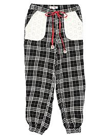 My Lil'Berry Checks Pyjama With Schfilli Patch Pockets - Black