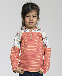 My Lil' Berry Full Sleeves Hooded T-Shirt Floral Print - Coral