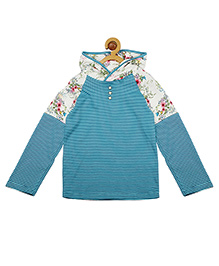My Lil' Berry Full Sleeves Hooded T-Shirt Floral Print - Blue