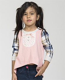 My Lil' Berry Full Sleeves T-Shirt Checks Print - Pink And Blue