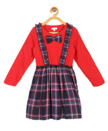 My Lil'Berry Back To School Frill Suspender Dress - Red And Navy Blue