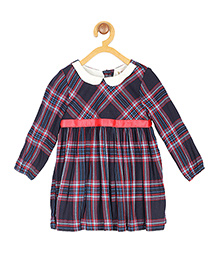 My Lil'Berry Full Sleeves Checks Frock - Navy Blue