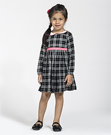 My Lil'Berry Full Sleeves Checks Frock - Black