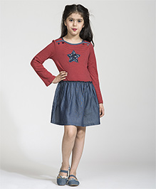 My Lil' Berry Full Sleeves Frock Sequins Design - Blue Red