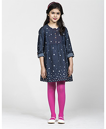 My Lil' Berry Full Sleeves Frock Stars Print - Blue