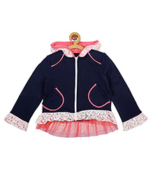 My Lil' Berry Full Sleeves Hooded Jacket Lace Design - Blue Pink