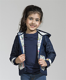 My Lil' Berry Full Sleeves Hooded Quilted Jacket - Blue