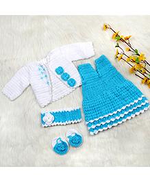 The Original Knit Crochet Flower Applique Dress With Shrug Booties & Headband - White & Blue