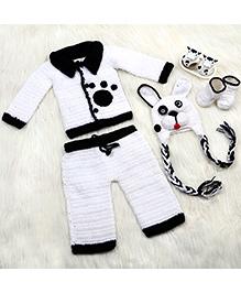 The Original Knit Lil Puppy Sweater With Pyjama Cap & Booties Set - White & Black
