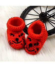 The Original Knit Tiger Pattern Booties - Red