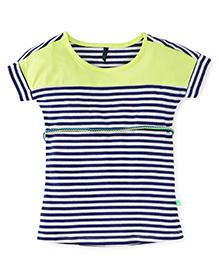 UCB Magyar Sleeves Stripes Dress - Green Navy White