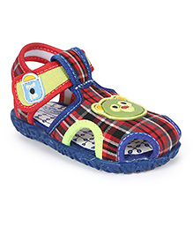Footfun Sandals With Velcro Closure Teddy Motif - Blue Red Green