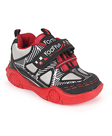 Footfun Casual Shoes With Velcro Closure - Red Black