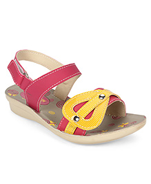 Footfun Sandals With Velcro Closure - Pink Yellow