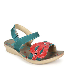 Footfun Sandals With Velcro Closure - Sea Green Red