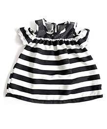 Tiny Closet Sheer Off Shoulder Mini Striped Dress - White