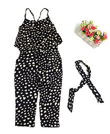 Pre Order - Tiny Closet Heart Print Jumpsuit - Black